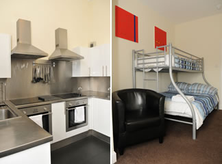 Photo of kitchen and room